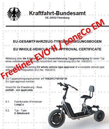 Elektro Dreirad Strassenzulassung